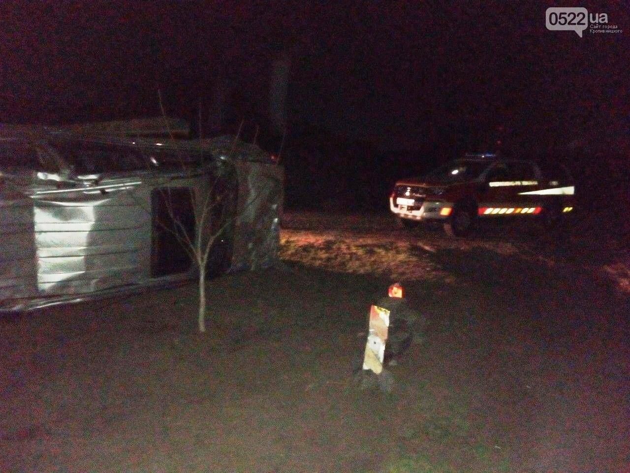 ДТП на Кіровоградщині: Автомобіль в'їхав у кам'яну огорожу та перевернувся на бік, фото-1