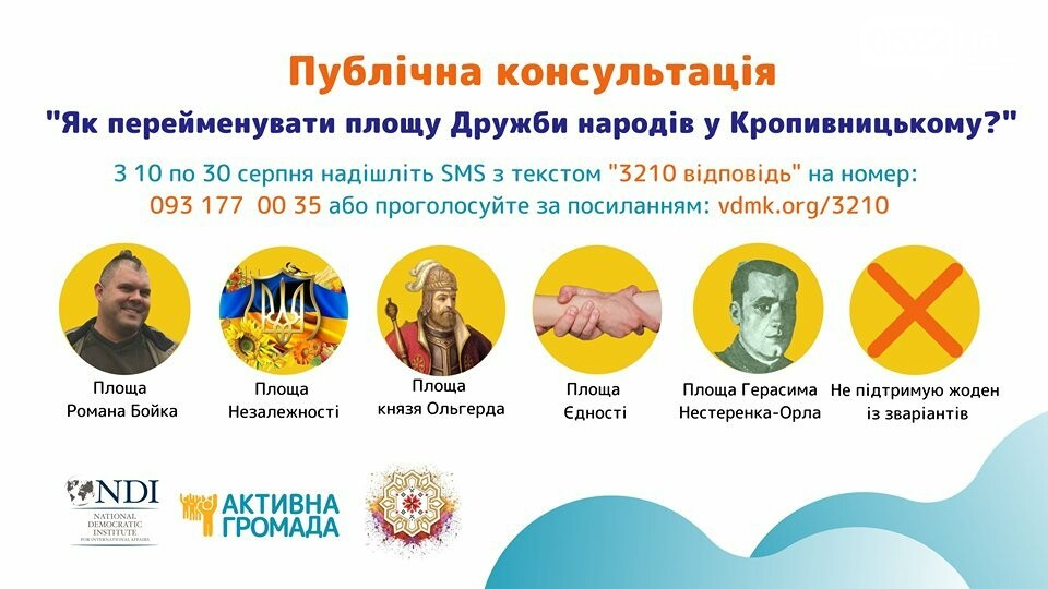 Публічна консультація щодо перейменування площі Дружби народів у Кропивницькому, фото-1